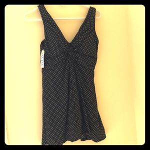 MiracleSuit black and white pinpoint swim dress.